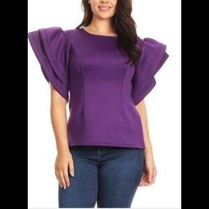 66e887478 Tops - Big ruffle sleeve top plus size